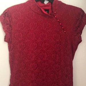 Tops - Beautiful red wine Chinese style blouse